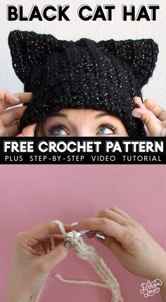 Black Cat Crochet Hat Free Pattern Learn how to crochet your own cat ear hat with this free crochet pattern and video tutorial. This hat has a ribbed texture and subtle slouched shape. It's great for beginning crocheters! Chat Crochet, Crochet Mignon, Crochet Diy, Learn To Crochet, Crochet Crafts, Crochet Birds, Crochet Food, Crochet Animals, Crochet Cat Hats