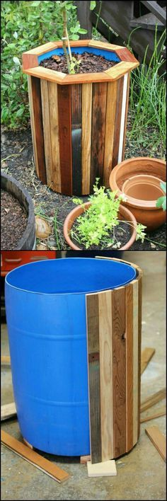 DIY Plastic Barrel Planter Use plastic barrels and cover in wood for an expensive planter look. Big size, little price! Outdoor Projects, Garden Projects, Wood Projects, Woodworking Projects, Outdoor Decor, Teds Woodworking, Pallet Planter Box, Planter Boxes, Pallet Patio