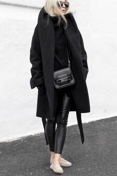 Latte Moccasins M.GEMI FELIZE -- Black coat, leather pants, knit ARITZIA - Black bag PROENZA SCHOULER - Sunnies PRISM | figtny.com