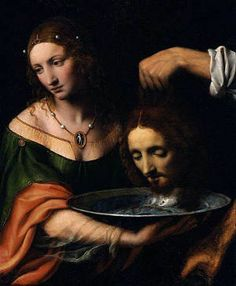 Salome with the Head of Saint John the Baptist by Bernardino Luini The painting depicts a scene from the Gospel of Mark, when Salome demands the head of John the Baptist for having danced before King Herod and his guests. The King who promised to give her anything she wants, reluctantly agreed and had John the Baptist beheaded in the prison. Luini's painting shows the moment when her request is met.