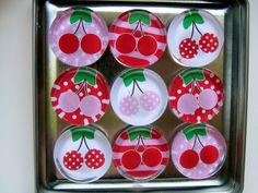 Colorful Cherries Magnets, Magnet Set of Nine with Storage Tin by UpNorthKnitsAndGifts on Etsy https://www.etsy.com/listing/241252452/colorful-cherries-magnets-magnet-set-of