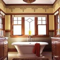 Craftsman bathroom, just need vanity seat on one side and change to a copper tub.