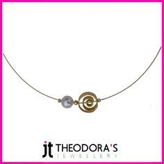 Handmade gold plated silver spiral charm pendant and white fresh water pearl on gold plated steel collar with silver endings. Jewelry wich exudes a sense of elegance and sophistication.----------------------------------------------------------Χειροποίητο κολιέ με μενταγιόν σπείρα από επιχρυσωμένο ασήμι και λευκό μαργαριτάρι σε λαιμαριά από επιχρυσωμένο ατσάλι με ασημένια κουμπώματα. Μόνο του ή με άλλα κολιέ αλυσίδες, ένα διακριτικό και σοφιστικέ κόσμημα για κάθε περίσταση.