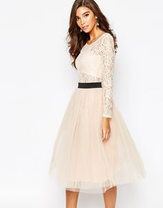 Rare London Sheer Lace Tutu Dress With Contrast Waistband And Tulle Skirt