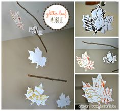 Glitter Leaf Mobile w/ Comb Painting by Crayon Box Chronicles
