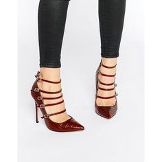 Paper Dolls Hathaway Strappy Croc Print Pumps ($62) ❤ liked on Polyvore featuring shoes, pumps, red, red pointy toe pumps, crocodile shoes, red pumps, strappy shoes and high heel shoes