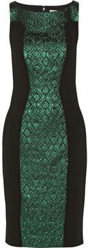 Badgley Mischka Two-tone jersey and brocade dress on shopstyle.com