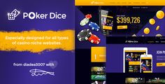 Poker Dice - Casino PSD Template by diadea3007     Poker Dice was especially created for casino related website niches. It has integrated bootstrap grid, what makes developm