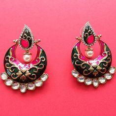 Dangling Kundan Work earrings