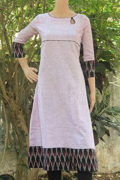 Kurti for chubby Kurta Patterns, Dress Patterns, Dress Neck Designs, Blouse Designs, Simple Kurti Designs, Indigo Dress, Ikkat Dresses, Churidar Designs, Kurta Neck Design