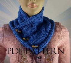 KNITTING PATTERN COWL Linda Cowl with wooden by LiliaCraftParty