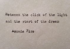 Arcade Fire lyrics No Cars Go hand typed on antique typewriter