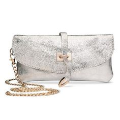 Women's Metallic Leather Clutch Handbag with Removeable Strap - Silver
