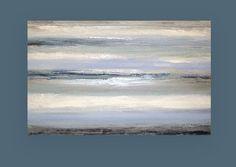 Grande peinture, abstrait, bleu et gris peinture acrylique abstraite originale par Ora Birenbaum intitulée : ciel nuageux 5 30x48x1.5 »