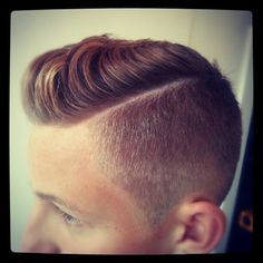 side part with fading and pomp