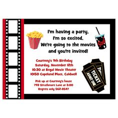 invitations greetings movie night invitation templates