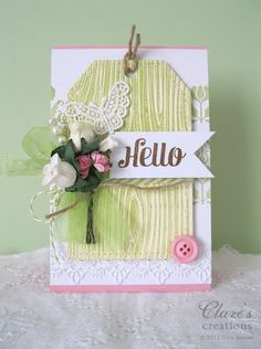 One of my cards featuring Waltzingmouse Stamps, ribbon and flowers from Craft Fairy.