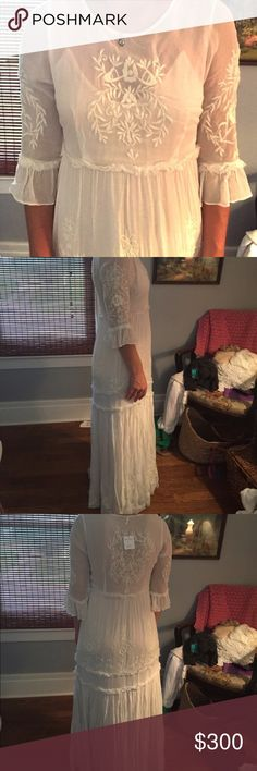 Free People white romance embroidered maxi dress Free People white romance embroidered maxi dress, size S. Free People Dresses