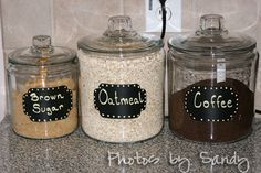 Organize pantry by putting dry food into jars or canisters, then labeling with chalkboard contact paper.  So appealing!