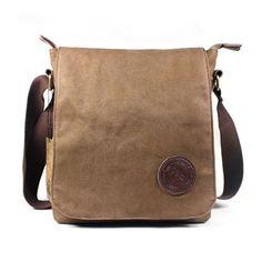 Mens-Vintage-Canvas-School-Satchel-Military-Laptop-Shoulder-Messenger-Bag-Brown