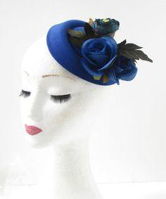 Royal Blue Rose Flower Pillbox Hat Fascinator by Starcrossedbeauty