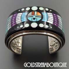 Amazing Massive RN Native American Museum Quality Rare Find Gemstone Micro Inlay Sun God Cuff Bracelet Boho Jewellery, Silver Jewellery Indian, Navajo Jewelry, Southwest Jewelry, Southwestern Style, Bohemian Jewelry, Vintage Turquoise, Turquoise Jewelry, Bangle