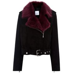 La Bete Plum Shearling Suede Biker Jacket (108.150 RUB) ❤ liked on Polyvore featuring outerwear, jackets and multi