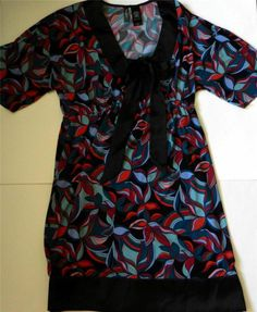 BISOU BISOU Womens Sz XS Blouse Top Black Blue Red Empire Waist Bow 3/4 Sleeve #BISOUBISOU #Blouse