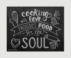 CHALKBOARD FOOD SAYINGS | Chalkboard Art - Kitchen Art - Cooking Quote - Foodie Gift - Kitchen ...