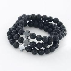 Lava Beaded Cross Aroma Bracelet