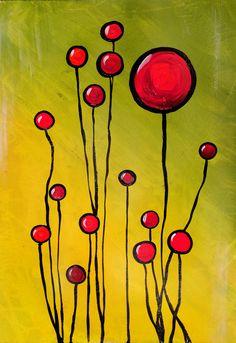 "Prairie Fire Poppies by Jill English   $100   16""w x 24""h   Original Art   http://www.vangoart.co/buy/art/prairie-fire-poppies @VangoArt"