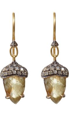 Cathy Waterman diamond acorn earrings