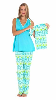 e9bf9140dfac Olian Aqua Circle Maternity   Nursing Pajama Set - OUT OF STOCK
