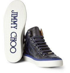 Jimmy Choo Belgravia Crocodile-Embossed Leather High Top Sneakers via Mr Porter
