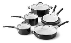 Calphalon 10 Piece Ceramic Nonstick Cookware Set Medium Black >>> Details can be found by clicking on the image.