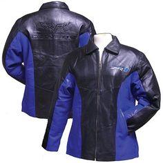 Womans C6 ZR1 Corvette Black and Blue Lambskin Jacket