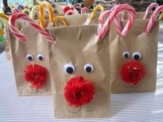 Rudolph the Red Nose Reindeer lolly bags, Christmas celebrations, great idea for kids school class Christmas idea.