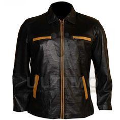Black With Orange Stripes Women Leather Jacket