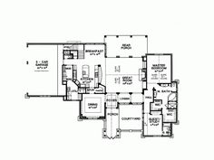 The first-floor layout of plan DHSW68911 from Dream Home Source features lots of room in the kitchen. Notice also the master suite located on this level for convenience!