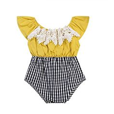 6237d748835b Baby Girls Clothes Off-shoulder Lace Plaid Romper Outfit Cute Newborn Baby  Girl