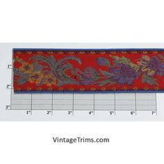 """Floral Jacquard Tapestry 2-1/4"""" (50 Yard Roll) Red/Yellow/Blue/Green/Purple"""