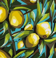 Lemon Tree by Vivek Mandalia, Blossom Collection a graphic illustration translated from the original acrylic painting. A painting that celebrates the vibrant colours of summer. Lemon Painting, Lemon Art, Wall Art Prints, Canvas Prints, Paisley Art, Tree Artwork, Sketch Painting, Graphic Illustration, Illustrations