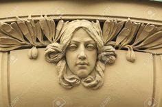 Art Nouveau, Photo Images, Face Expressions, Oriental, Ornament, Female Head, Sculpture, Statue, 2d