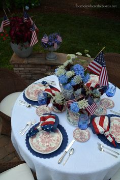 I set a table that's Red, White and Blooming in anticipation of Independence Day! We'll be celebrating family members' birthdays along with America's birthday this weekend… Fourth Of July Decor, 4th Of July Celebration, 4th Of July Decorations, 4th Of July Party, Table Decorations, July 4th, Holiday Centerpieces, Holiday Tables, Memorial Day Celebrations