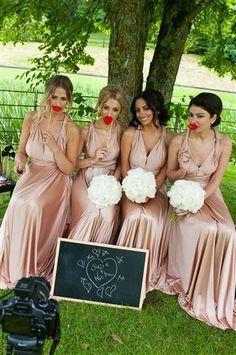 Rose Gold Bridesmaids Dresses Grecian