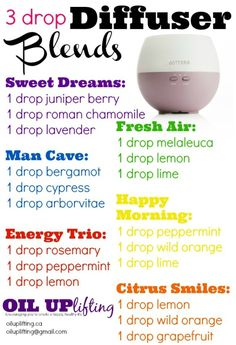 3 drop Essential Oil Diffuser Blends to try