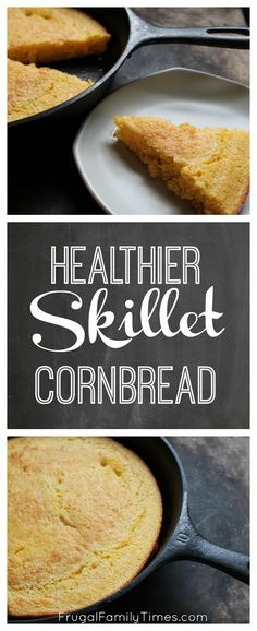 An easy, healthy, moist cornbread made in a skillet (adapted from the Pioneer Woman)