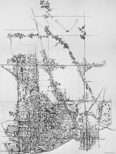 """The Way I See It"" pen & ink, graphite on paper; a map of Muncie, IN based on personal experiences & adventures"