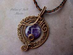 Amethyst Wire Wrapped pendant, copper woven wire, purple gemstone pendant, wire wrapped jewelry handmade by PillarOfSaltStudio