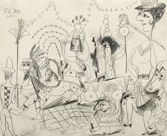 - Lot 163 - Pablo Picasso 1881 - 1973 LA PARADE signed Picasso and dated (upper left) pencil on paper by 20 by 25 in. Drawn in Mougins on February Pablo Picasso, Kunst Picasso, Picasso Art, Picasso Sketches, Picasso Drawing, Present Drawing, Gustave Courbet, Tate Gallery, Paintings I Love